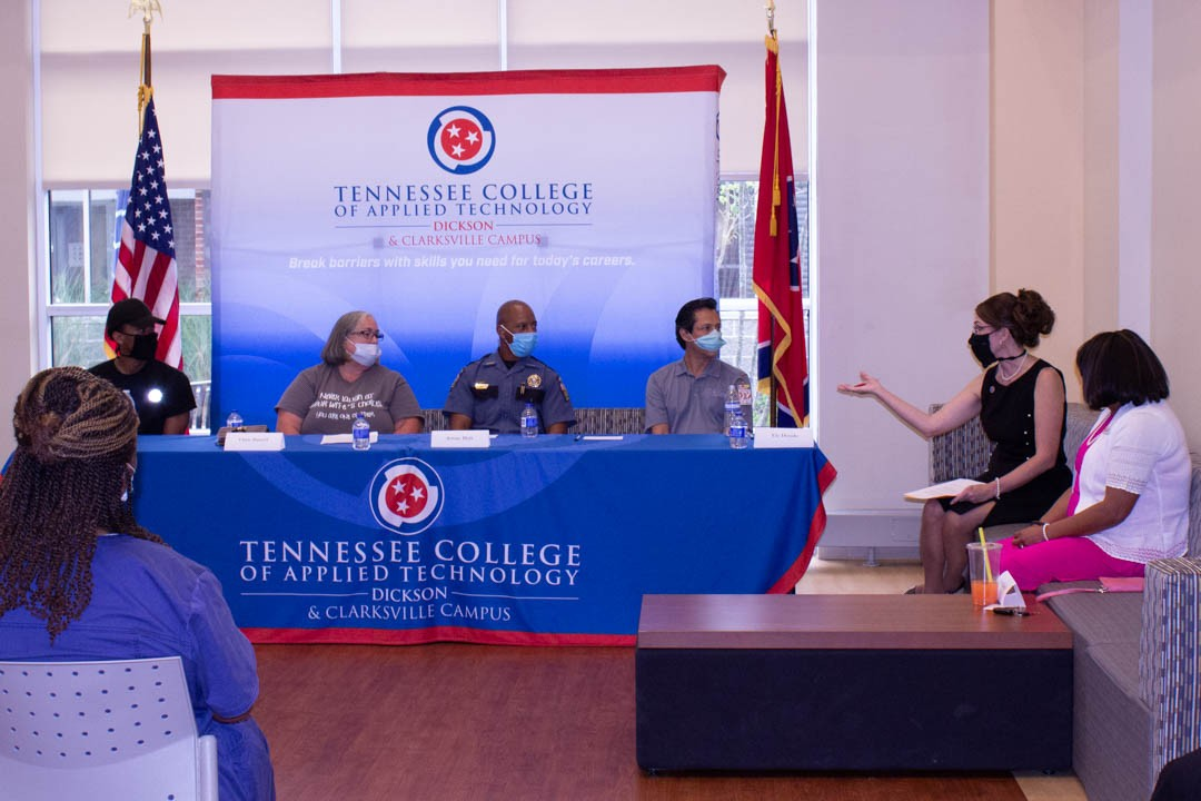 Pictured left to right, Brandon Williams, Chris Russell, Jerone Holt, Ely Dorado, Dr. Arrita Summers and Pam Edmond.