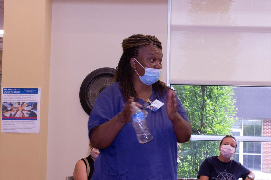 A Dickson Campus Practical Nursing student shares her experiences with the panel.